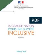 Synthèse - Rapport de Thierry Tuot sur la refondation des politiques d'intégration
