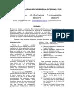 MI 201B ESTUDIO METALÚRGICO DE UN MINERAL DE PLOMO ZINC