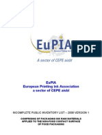 EuPIA - Packaging Inks for Non-food Contact Surface of Food Packaging