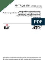 3GPP TR 26.975 Performance Characterization AMR Speech Codec