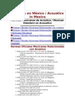 Acstica en Mxico y Normas Mexicanas de Acustica