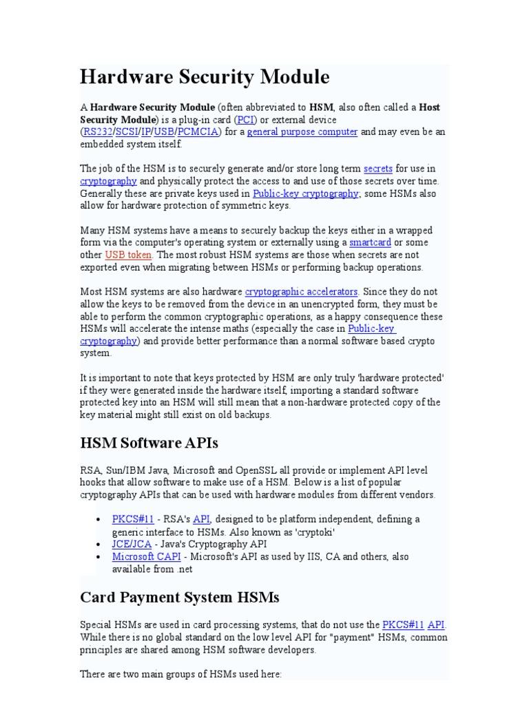 Hardware Security Module   Emv   Key (Cryptography)