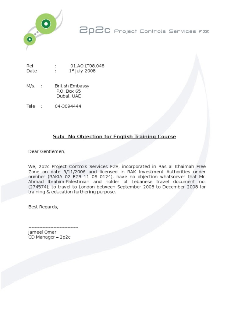 No Objection Letter – No Objection Format
