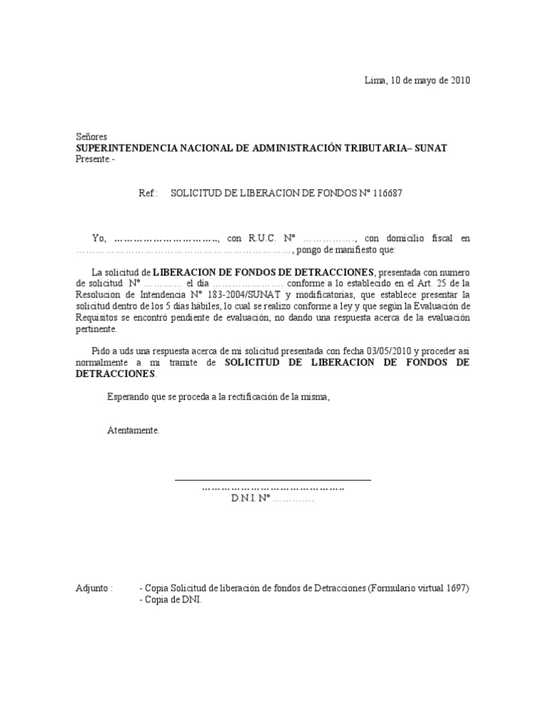 Carta sunat liberacion de for Solicitud de chequera