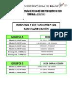 Horarios y Enfrentamientos CEJDS Por Equipos