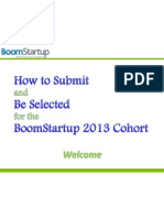 how to submit and be selected for the boomstartup 2013 cohort