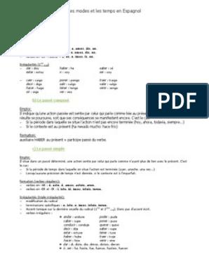 Conjugaisons Espagnol Pdf Verbe Morphologie Linguistique