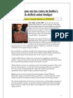 India's Interim Budget-2009_Status Quo on Tax Rates in India
