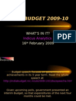 Comments on Indian Budget 2009-10 announced on February 16th 2009