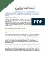 Guías de la American Psychological Association para la práctica profesional con clientes homosexuales
