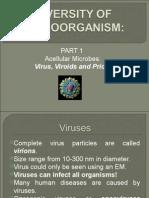 Diversity of Microorganisms 1- Acellular