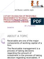 A Study on Analysis of Receivable Management