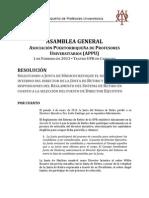 RESOLUCIÓN ASAMBLEA GENERAL APPU SOLICITANDO A JUNTA DE SÍNDICOS REVOQUE NOMBRAMIENTO Y RESPETE REGLAMENTO