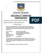 NOTICE ON 2013 2ND SEMESTER  REGISTRATION DATES AND FEES SCHEDULE