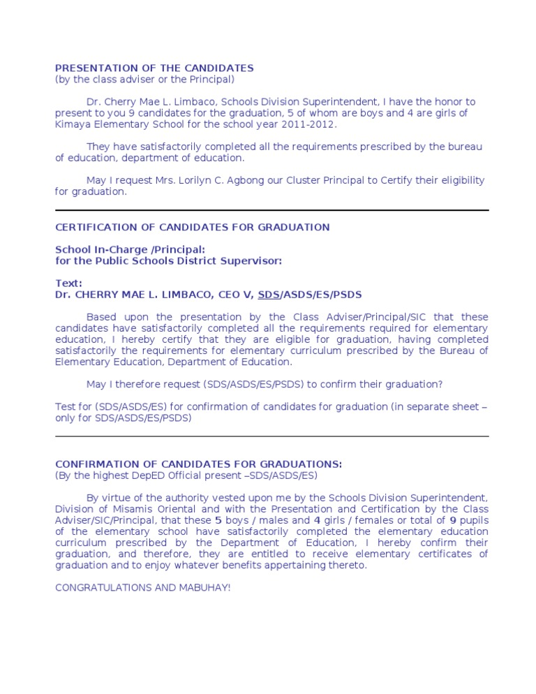 Certification And Confirmation For Graduates Speech