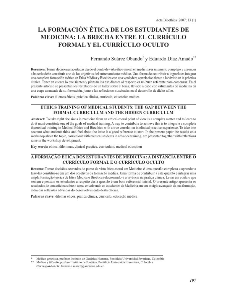 formacion etica de los estudiantes de medicna curriculo formal y ...