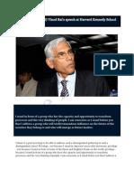 Govt. auditor (CAG) Vinod Rai's speech at Harvard Kennedy School