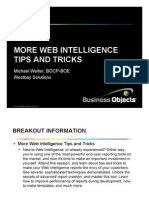 More Web Intelligence More Web Intelligence Tips and Tricks