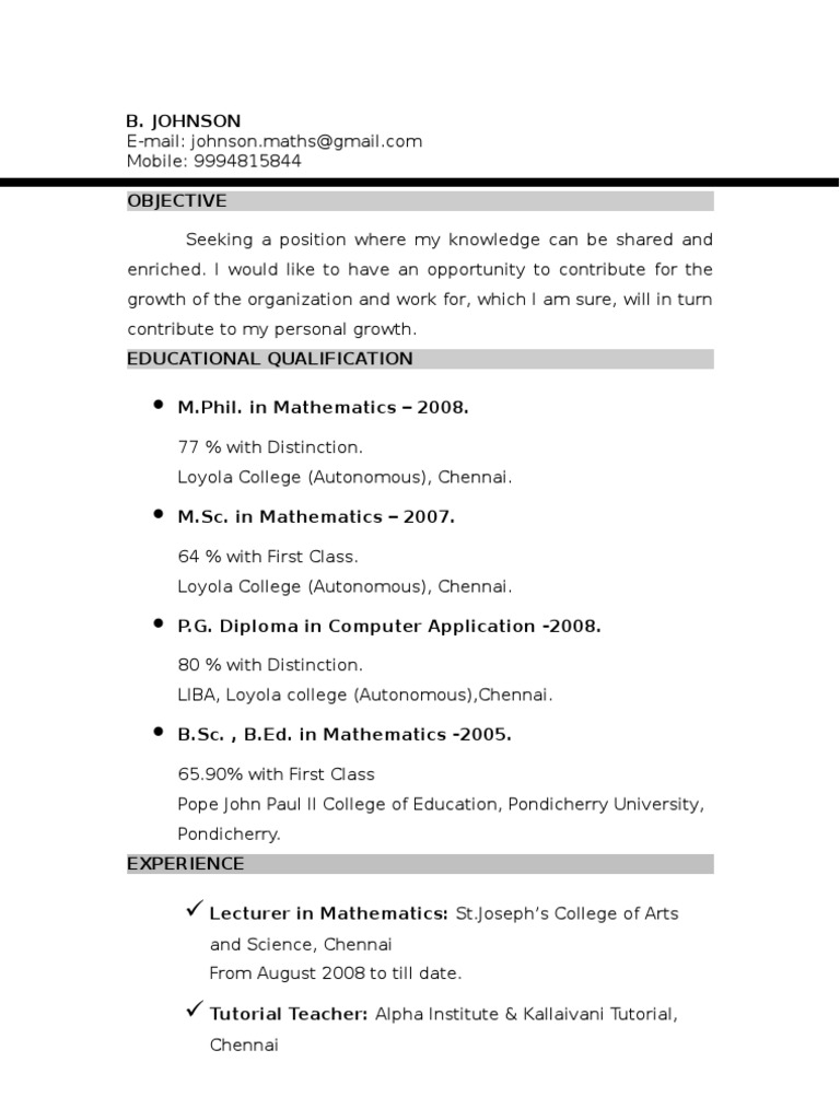 Johnson Resume Mathematics