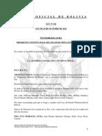 """Ley 302 Declaración como Patrimonio Natural de Bolivia a la """"Majestuosa Montaña del Illimani"""" que se encuentra ubicada en el Departamento de La Paz"""
