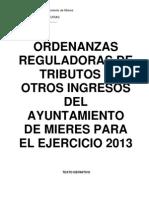 Ordenanzas fiscales de Mieres. 2013.