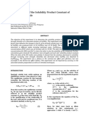 Determination of the Solubility Product Constant of Calcium