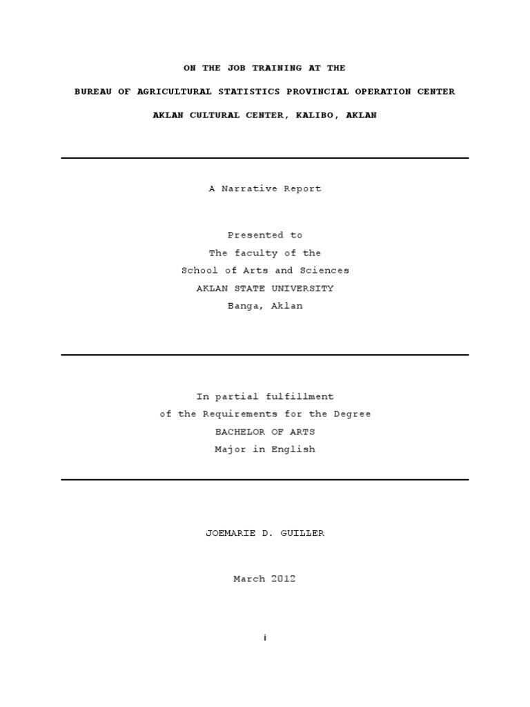 Joem Ojt Narrative Report Science Agriculture