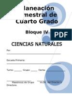 Plan - 4to Grado Bloque IV - Ciencias Naturales