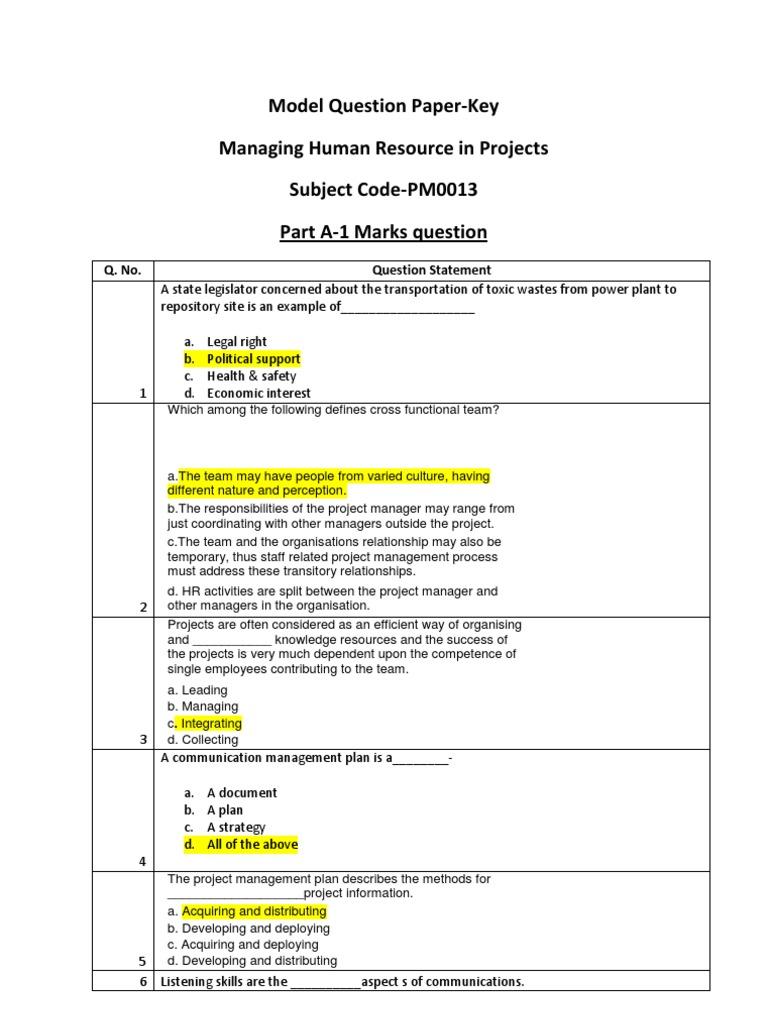 PM0013-Keys pdf | Project Management | Human Resource Management