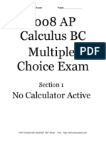 AP Calculus BC Released Exam 2008 Multiple-Choice Questions (College Board)