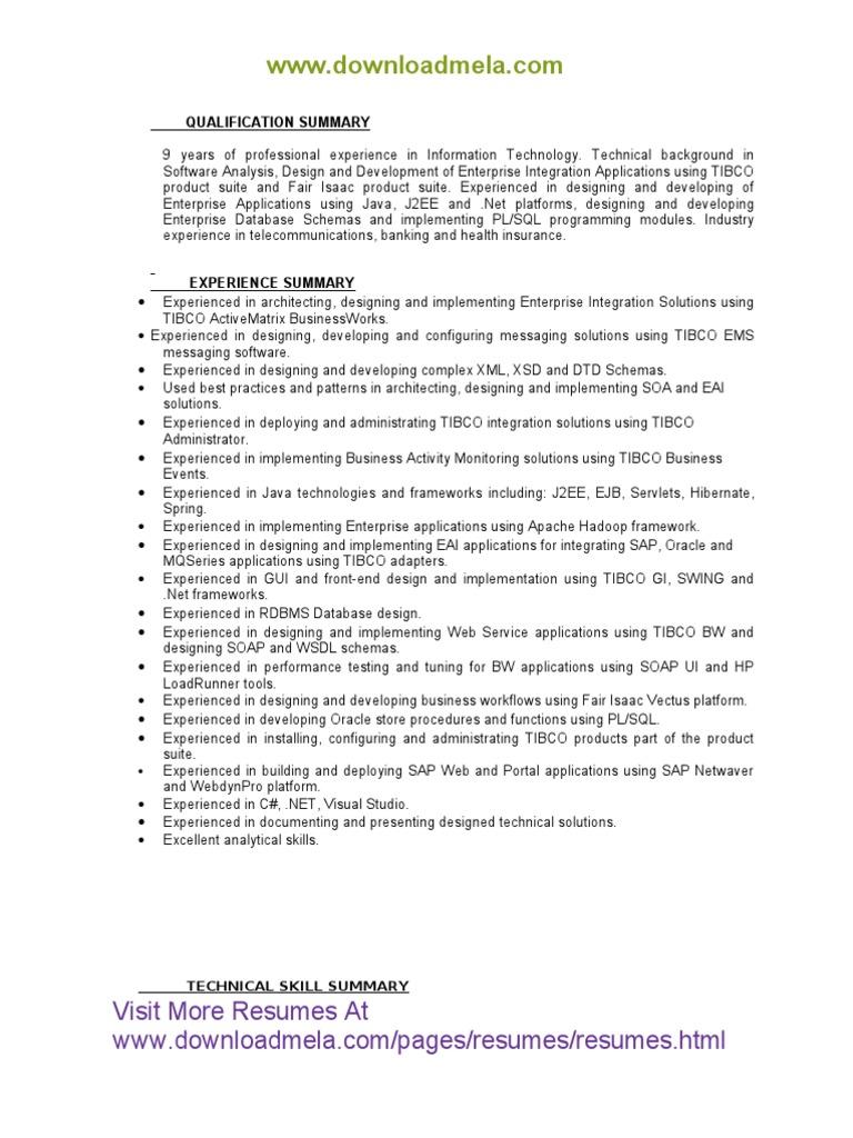 Tibco 9 Years Of Experience Resume Net Beans Apache Hadoop