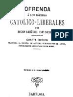 Segur Monseñor - [1874] Ofrenda a los jóvenes católico-liberales