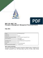 Course Outline;Principle of Management