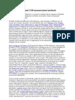 CSR Definitions and CSR Measurement Methods