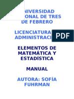 MANUAL  DE ELEMENTOS DE MATEMÁTICA Y ESTADÍSTICA