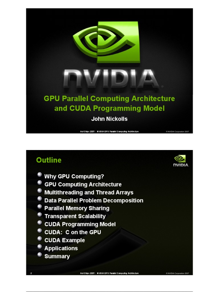 GPU Parallel Computing Architecture and CUDA Programming Model