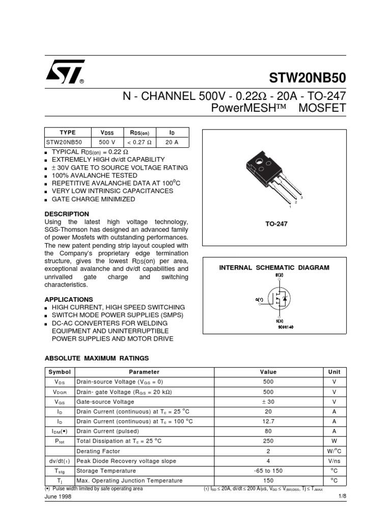W20NB50   Field Effect Transistor   Mosfet