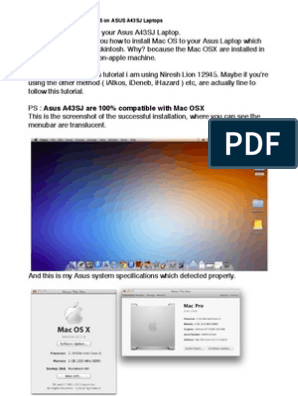  Full GUIDE to install Macintosh OS on ASUS A43SJ Laptops