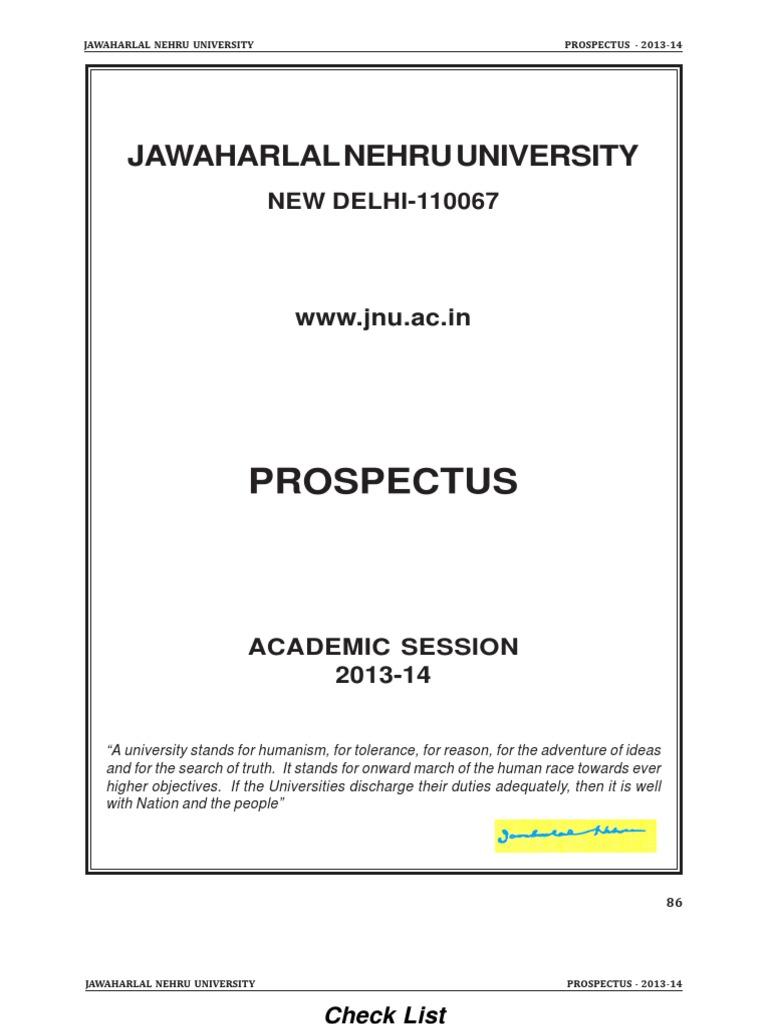 jnu prospectus2013 pdf thesis doctor of philosophy