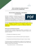 Convocatoria Revista NEIES 2012