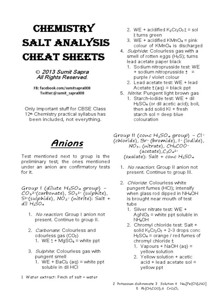 Chemistry salt analysis cheat sheets salt chemistry solubility nvjuhfo Choice Image