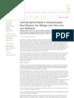 Interdisciplinaridade e interpretação Paul Ricoeur em diálogo com Hans Urs von Balthasar  Revista IHU Online #376