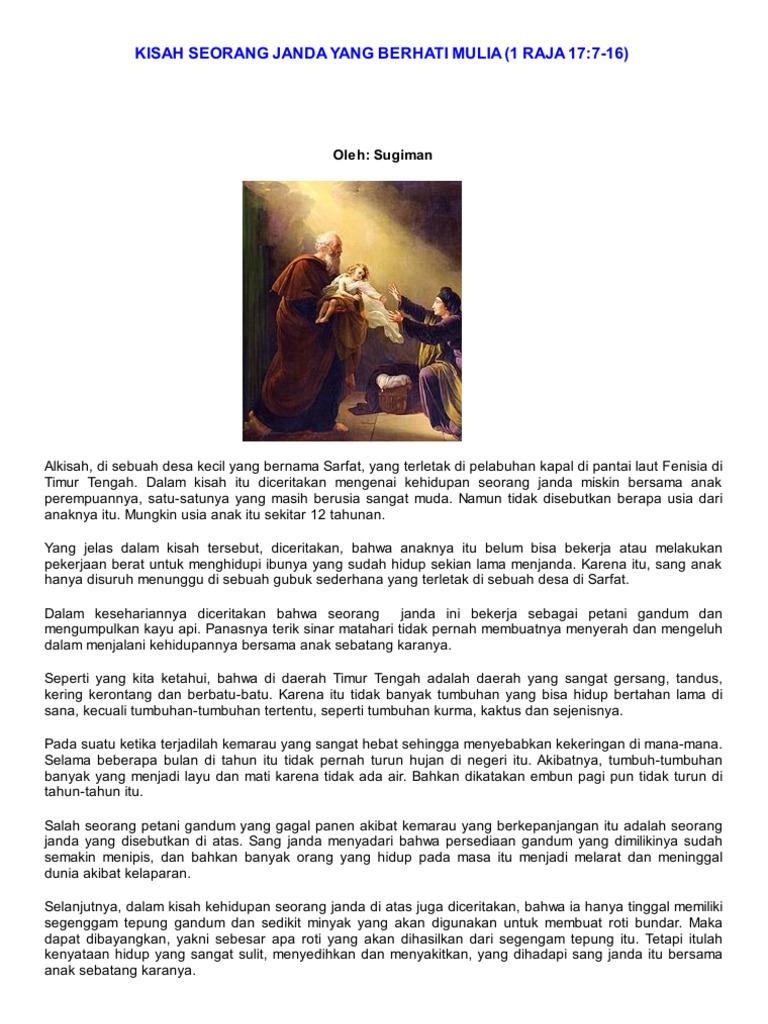 Kisah Seorang Janda Yang Berhati Mulia 1 Raja 17 7 16 Oleh Sugiman