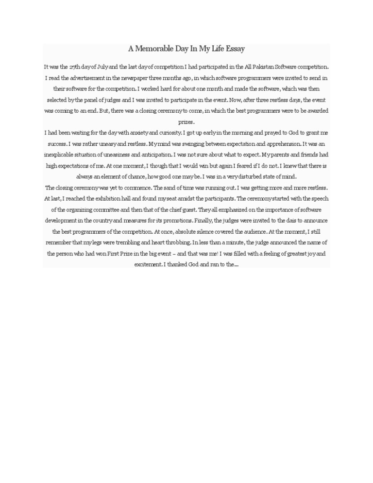 my most memorable day essay