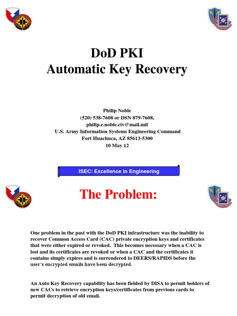 Automatic Key Recovery New Public Key Certificate Key Cryptography