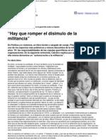 Calveiro, Pilar (2005). Entrevista 'Hay Que Romper El Disimulo de La Militancia'
