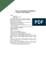 Program i pitanja za prijemni iz biologije