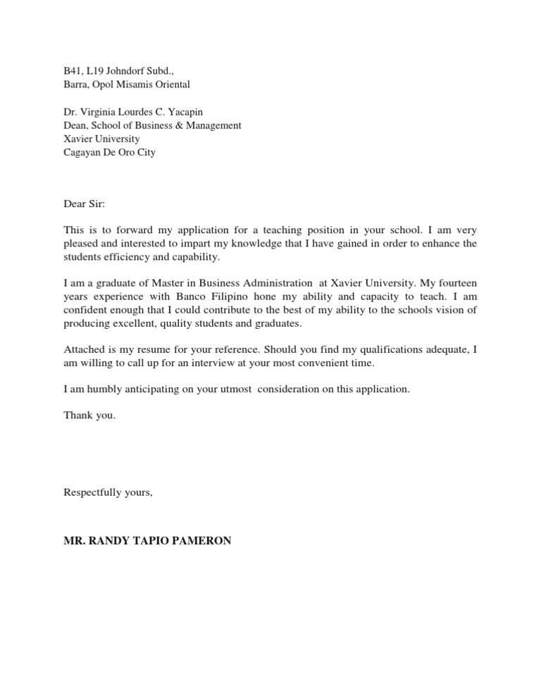 51453244 Application Letter for Teacher