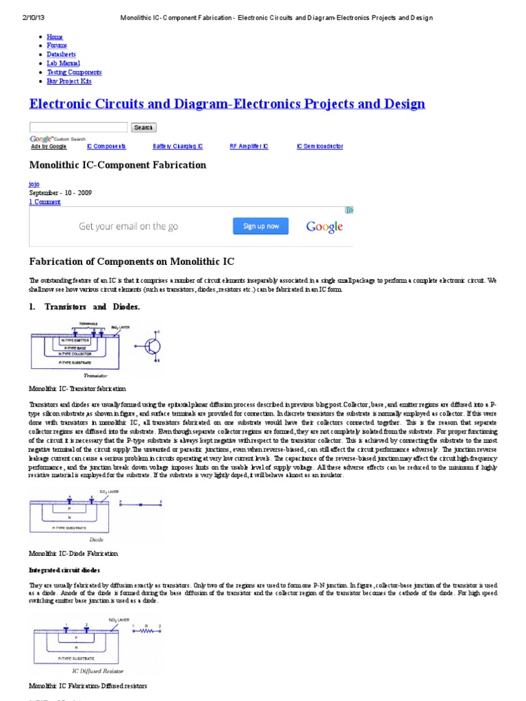 Monolithic Ic Component Fabrication Transistor Electronic Circuits Circuit Designs Just Hobby Using Led Electrical Blog