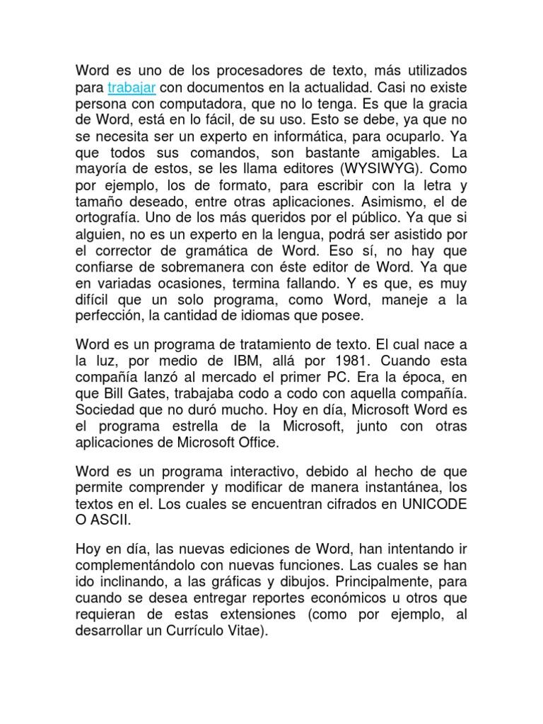 Word Es Uno De Los Procesadores De Texto Docx
